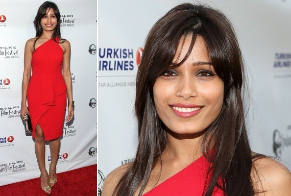 Freida Pinto's Classic Red Cocktail Dress