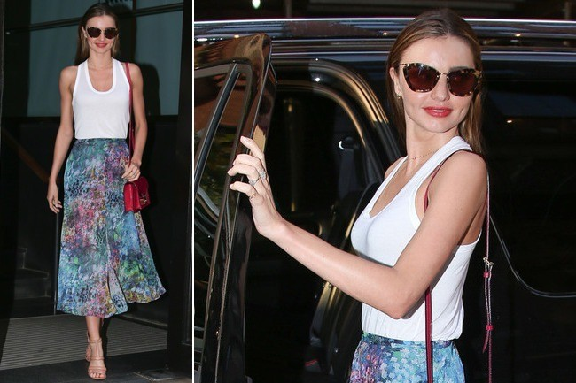 Where to Get Miranda Kerr's Watercolor Skirt