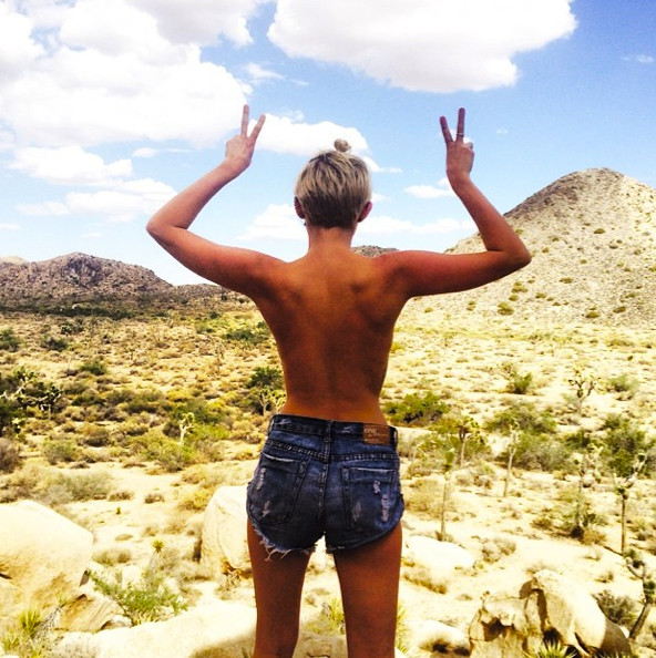 Miley Cyrus flashes the desert.