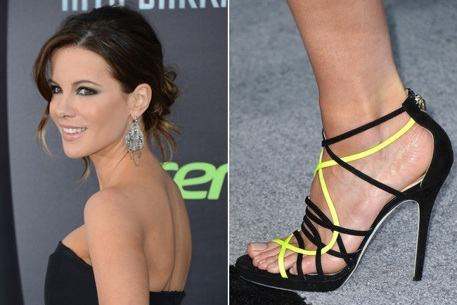 Kate Beckinsale Is Elegant in Black and Neon