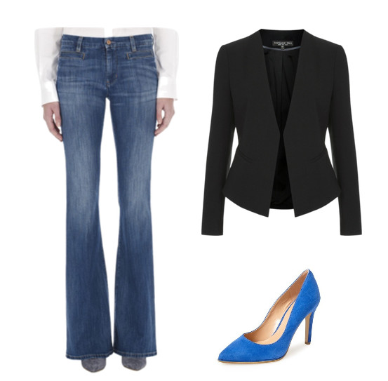MiH Marrakesh Jean, $205, at us.mih-jeans.com; Kenneth Cole Reaction Bee Buzz Pump, $79, at Nordstrom; Topshop Slim Curve Blazer, $95, at Topshop