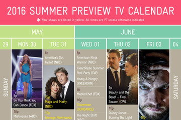 2016 Summer TV Preview Calendar