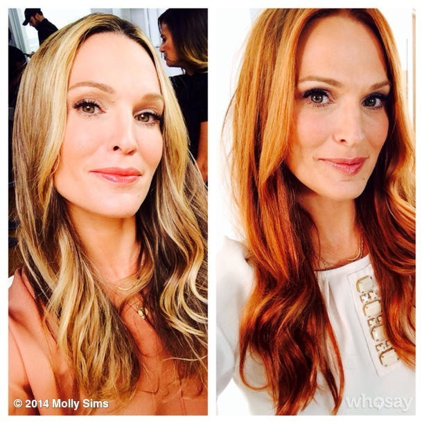 Can You Guess Who Inspired Molly Sims's New Red 'Do?