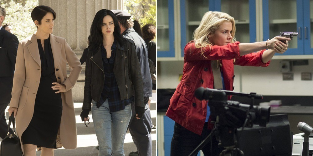Left to right: Carrie-Anne Moss, Krysten Rytter, and Rachael Taylor in 'Jessica Jones'.