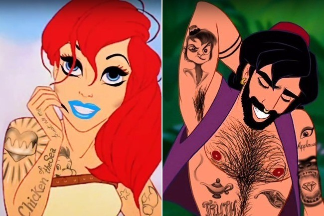 here s what 14 disney characters would look like as tattooed
