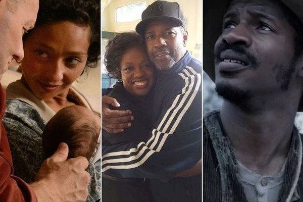 Ruth Negga as Mildred Loving in Loving, Viola Davis and Denzel Washington on the set of Fences, Nate Parker as Nat Turner in The Birth of a Nation. (Focus Features | Twitter | Paramount)