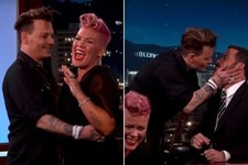 Pink Cringes Over Johnny Depp Intro, Depp Proceeds to Kiss Jimmy Kimmel on the Mouth