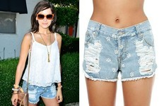 Found: Camilla Belle's Distressed Daisy-Print Denim Shorts