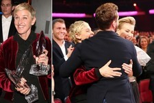 BFFs Ellen and Justin Freak Out as DeGeneres Breaks Record for Most People's Choice Awards Ever Won