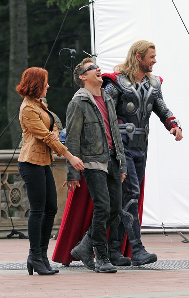 "Actors Scarlett Johansson, Chris Hemsworth, Jeremy Renner, seen filming ""The Avengers"" at the Bethesda Fountain in Central Park, NYC."