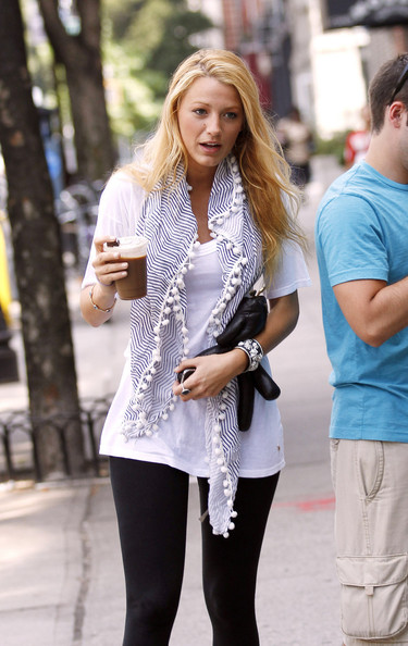 "Actress Blake Lively is back to work and prepping for a  new season of ""Gossip Girl"" in New York.  Lively, 23, is escorted by a personal body guard as she walks Atlantic Avenue in Brooklyn with an iced coffee."