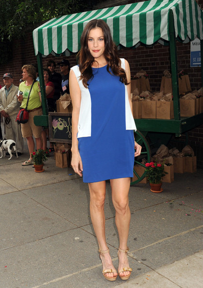 Liv Tyler colour blocks in blue as she arrives at the the Stella McCartney Spring 2012 Presentation in New York.