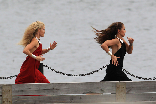 "Actresses Minka Kelly and Rachael Taylor film a scene for the new TV show ""Charlie's Angels"" in Miami."