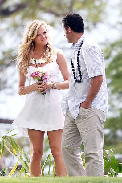 Brooklyn Decker and Adam Sandler - Adam Sandler Gets Ready to Film