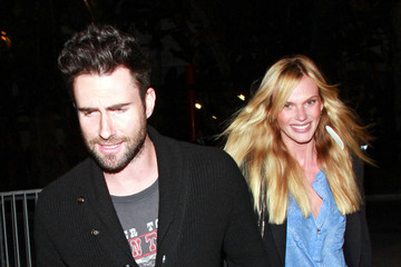 Adam Levine Anne V Celebs at the Lakers Game