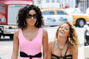 Adrienne Bailon and Julissa Bermudez film for 'Empire Girls' at the Maserati Polo World Cup in Miami where the girls dresses up to pose next to their favorite fast cars.