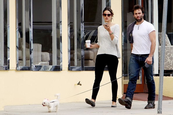 Alessandra ambrosio and husband jamie mazur take their dog for a walk
