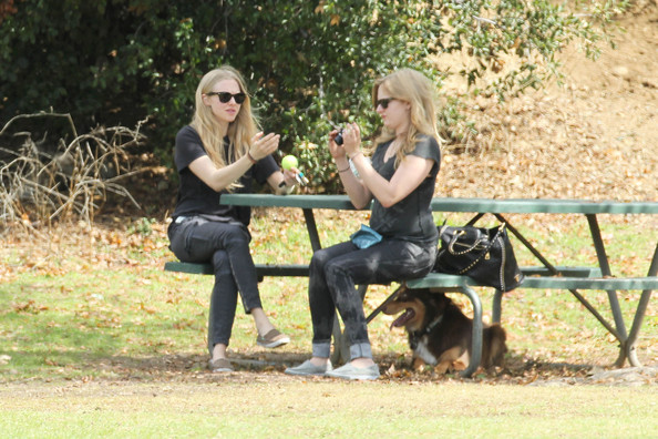 "Amanda Seyfried Amanda Seyfried does errands all day accompanied by her Australian Shepherd, Finn. The ""Chloe"" actress dropped off a package at Fedex before taking Finn to a dog park with a friend. Afterwards, the natural beauty actress went shopping with friends."