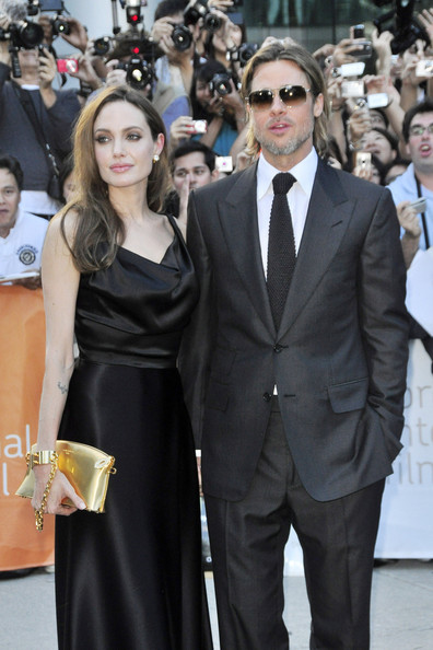 "Angelina Jolie Superstar couple Brad Pitt and Angelina Jolie attend the premier of the new movie ""Money Ball"" at the Toronto Film Festival."
