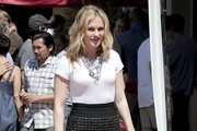 Anna Paquin, dressed to kill in a figure hugging pencil skirt and tight fitting white top, arrives at the LA Short Film Festival in Hollywood. Anna's stars in a short film