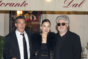 """Tuesday September 202011. Antonio Banderas and director Pedro Almodovar celebrate the opening of their new film """"The Skin I Live In"""" with a meal in Rome. The pair were joined by Italian actress Elena Anaya, who also starred in the film."""