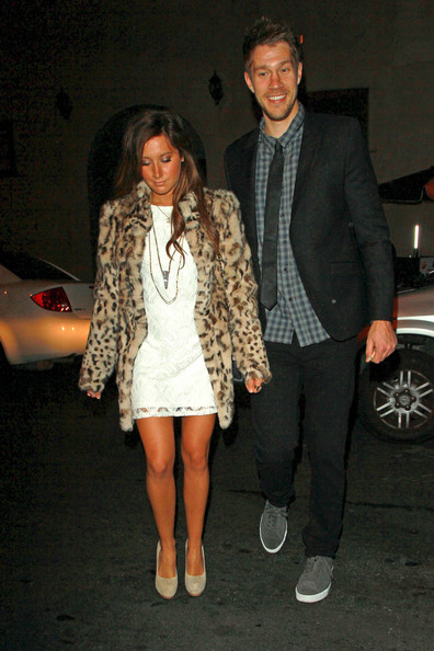 Ashley Tisdale Ashley Tisdale wears a leopard print fur coat to eat out at Hollywood hotspot, Katsuya, with her current beau, Scott Speer.