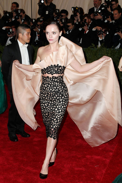 Christina Ricci walks the red carpet at the Met Gala at the Metropolitan Museum of Art in NYC.