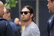 Caleb Followill from Kings of Leon band seen checking out from the 'Four Seasons Hotel' while on their way to Oklahoma for a concert in New York City.