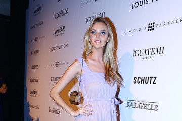 Caroline Trentini Alinne Moraes at the amfAR Inspiration Gala against AIDS in Sao Paulo, Brazil
