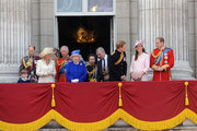 Prince Edward, Earl of Wessex, Lady Louise Windsor, James Viscount Severn, Sophie, Countess of Wessex, Camilla, Duchess of Cornwall, Prince Charles, Prince of Wales, Queen Elizabeth II, Prince Andrew, Duke of York, Prince Harry, Catherine, Duchess of Cambridge and Prince William, Duke of Cambridge, stand on the balcony during the annual 'Trooping the Colour' ceremony at Buckingham Palace in London.