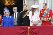 Queen Elizabeth II, Prince Andrew, Duke of York, Prince Harry, Catherine, Duchess of Cambridge and Prince William, Duke of Cambridge, stand on the balcony during the annual 'Trooping the Colour' ceremony at Buckingham Palace in London.
