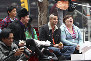 """(L-R) Harry Shum Jr, Chris Colfer, Jenna Ushkowitz, Mark Salling and Ashley Fink taking a break in Times Square as the """"Glee"""" stars shoot on location in  the Big Apple."""