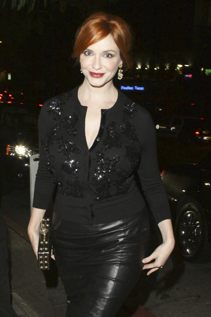 Christina Hendricks leather