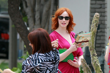 Christina Hendricks January Jones Hosts a Baby Shower by the Beach