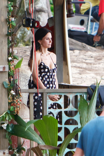 "Courteney Fox, in a spaghetti strap polka dot dress, seen on a break while filming scenes for ""Cougar Town"" in Hawaii."
