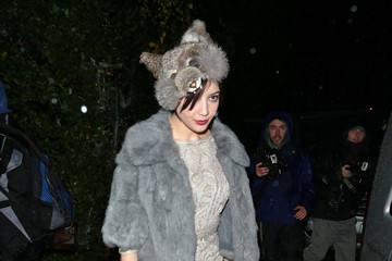 Daisy Lowe Sexy model Daisy Lowe seen dressed as a wolf while leaving in the rain from Jonathan Ross's Halloween party held at his home in London