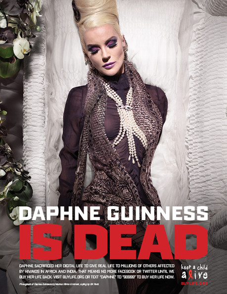 Daphne Guinness .HOLLYWOOD IS DEAD - CELEBRITIES POSE IN COFFINS AND GO OFF LINE IN 'DIGITAL DEATH' FOR WORLD AIDS DAY: A host of celebrities are raising money for charity by signing off their social networking sites for 24 hours - and playing dead in a series of macabre photographs. Lady Gaga, Justin Timberlake, Usher, Kim Kardashian, Jennifer Hudson, Ryan Seacrest, Elijah Wood, Serena Williams and Swizz Beatz are all pictured lying flat out in their coffins. The stars also suffered a 'digital death' for one day and signed off all their Twitter, Facebook and MySpace accounts to raise cash for World Aids Day on Wednesday. They logged off on Tuesday and will not sign back on until $1 million has been raised for Alicia Keys' Keep A Child Alive cause. During 'The Digital Life Sacrifice' they all filmed 'last tweet and testament' videos which will appear in ads showing them in coffins. Lady Gaga has more than seven million Twitter followers - while 3.5 million have signed up for Justin Timberlake's tweets. Alica Keys said: ''Once I got people on the phone and I was able to paint the concept for them, everybody was in. ''We're trying to make the remark, 'why do we care so much about the death of one celebrity as opposed to millions and millions of people dying in the place that we're all from?'' Celebrities taking part also include P Diddy, Serena Williams, Janelle Monae, Kimberly Cole, David LaChapelle, Daphne Guinness and Bronson Pelletier.