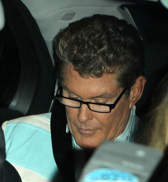 "David Hasselhoff Judge David Hasselhoff, wearing thick rimmed glasses, seen leaving the ""Britain's Got Talent"" semi final in London."