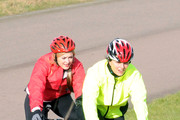 Friday February 5 2010.ÊComedian David Walliams, Radio DJ Fearne Cotton, Comedian Miranda Hart and TV presenter Davina McCall train on racing bikes for this years Sports Relief challenge. Walliams has rounded up a bunch of celebrities to take part in a non-stop cycle relay from John O'Groats to Land's End - beginning on March 1 - to raise money for Sports Relief. The team powered round this west London track whilst being lead by a camera crew hanging out the back of a Range Rover. They also had the help of a personal trainer.