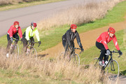 Friday February 5 2010. Comedian David Walliams, Radio DJ Fearne Cotton, Comedian Miranda Hart and TV presenter Davina McCall train on racing bikes for this years Sports Relief challenge. Walliams has rounded up a bunch of celebrities to take part in a non-stop cycle relay from John O'Groats to Land's End - beginning on March 1 - to raise money for Sports Relief. The team powered round this west London track whilst being lead by a camera crew hanging out the back of a Range Rover. They also had the help of a personal trainer.