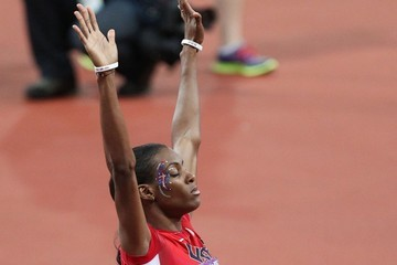 Dee Dee Trotter Sanya Richards-Ross of the USA seen winning the gold medal in the 400m final at the Olympic Stadium, London Olympic Games 2012