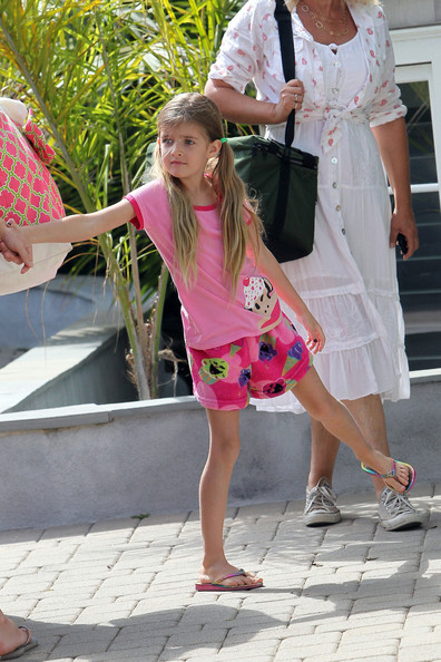 Denise Richards Denise Richards arrives at a photo shoot in Malibu with daughters Sam, Lola, and a covered up Eloise, who she recently adopted.