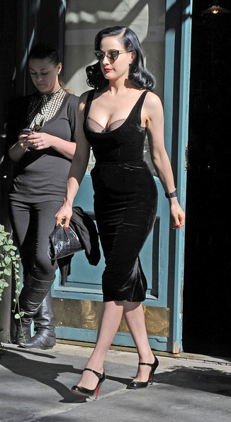 3ce9688b7f89 Dita Von Teese shows off her bra in a plunging neckline while out and about  in
