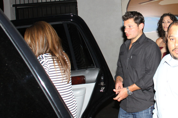 Nick Lachey and Vanessa  Minnillo head home from Colony's opening party in LA.
