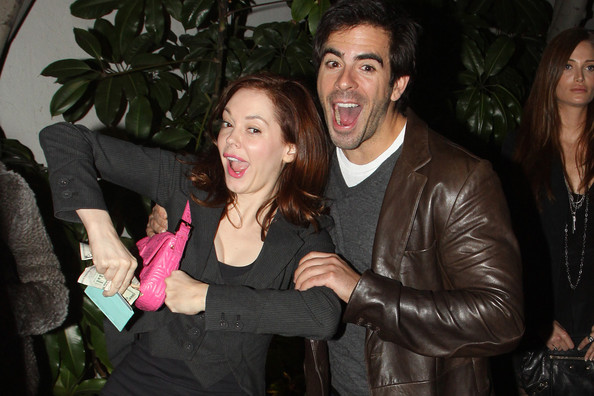 Photo of Rose McGowan & her friend actor  Eli Roth - Los Angeles