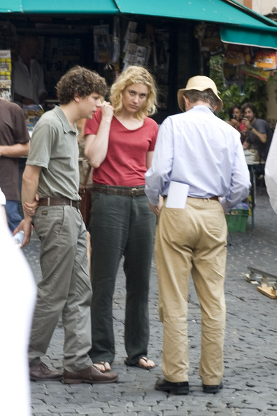 "Jesse Eisenberg works with Woody Allen on the set of ""Bop Decameron"" currently filming in Rome, Italy."