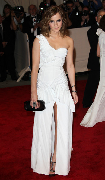 Emma Watson Monday May 3 2010..Emma Watson strikes a pose at The Costume Institute Gala celebrating the new exhibition 'American Woman - Fashioning a National Identity', held at the Metropolitan Museum of Art in Manhattan, New York.