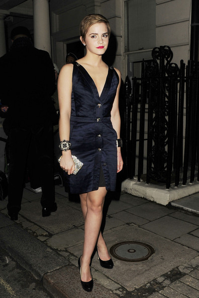 Emma Watson attends a pre-BAFTA's party at Mark's Bar in Mayfair.