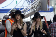 Emma Roberts, Taissa Farmiga, Jamie Brewer, Jessica Lange and Gabourey Sidibe dress in all black as they film 'American Horror Story' in the French Quarter of New Orleans.