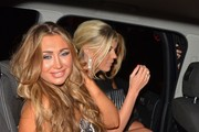 Lauren Goodger and Frankie Essex seen leaving from 'The Only Way Is Essex' wrap party held at the Cavendish Square, London.